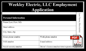 Weekley Employment App PDF
